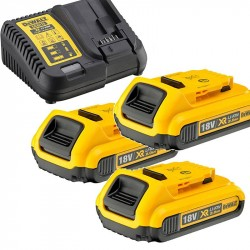 Nabíječka pro zásuvné baterie XR 10,8 - 18V + 3ks baterie 2,0Ah DEWALT DCB115D3