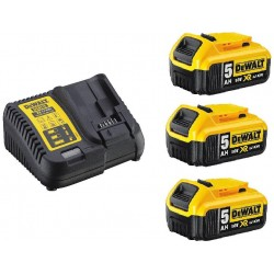 Nabíječka pro zásuvné baterie XR 10,8 - 18V + 3ks baterie 5,0Ah DEWALT DCB115P3